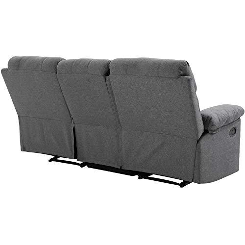 HOMCOM 3-Sitzer Fernsehsofa Relaxsofa Liegefunktion Fernsehcouch TV-Sofa Relaxsessel 180° verstellbar Leinen Dunkelgrau 185 x 95 x 97 cm
