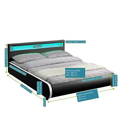 Juskys Polsterbett Sevilla 140 × 200 cm – Bettgestell mit Lattenrost, LED-Beleuchtung & Kunstleder – schwarz - Bett Jugendbett