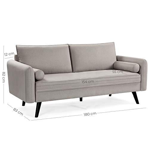 VASAGLE Sofa 3 Sitzer, Couch mit Bezug aus Leinenimitat, 180 x 82 x 83 cm, Polstermöbel für kleine Wohnungen, Gästezimmer, Jugendzimmer, mit Holzgestell, einfacher Aufbau, beige, LCS10BE